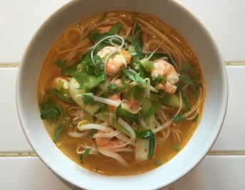 Red thai broth with King prawns
