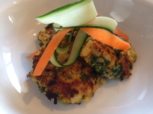 Indian spiced Cauliflower and kale fritters